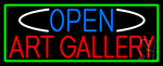 Open Art Gallery With Green Border LED Neon Sign
