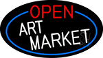 Open Art Market Oval With Blue Border LED Neon Sign