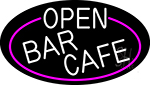 Open Bar Cafe Oval With Pink Border Neon Sign