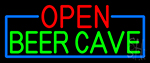 Open Beer Cave With Blue Border LED Neon Sign