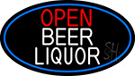 Open  Beer Liquor Oval With Blue Border Neon Sign