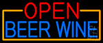 Open Beer Wine With Orange Border LED Neon Sign