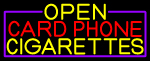 Open Card Phone Cigarettes With Purple Border LED Neon Sign
