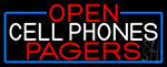 Open Cell Phones Pagers With Blue Border LED Neon Sign