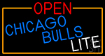 Open Chicago Bulls Lite With Orange Border LED Neon Sign