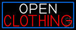 Open Clothing With Blue Border LED Neon Sign