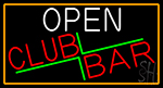 Open Club Bar With Orange Border Neon Sign