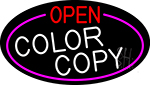 Open Color Copy Oval With Pink Border Neon Sign