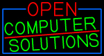 Open Computer Solutions With Blue Border Neon Sign
