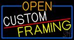 Open Custom Framing With Blue Border LED Neon Sign