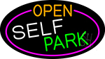 Open Self Park Oval With Pink Border LED Neon Sign