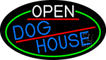 Open Dog House Oval With Green Border LED Neon Sign