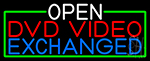 Open Dvd Video Exchanged With Green Border LED Neon Sign