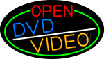 Open Dvd Video Oval With Green Border Neon Sign