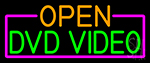 Open Dvd Video With Pink Border LED Neon Sign