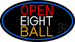 Open Eight Ball Oval With Blue Border Neon Sign