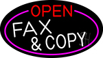 Open Fax And Copy Oval With Pink Border Neon Sign