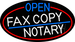 Open Fax Copy Notary Oval With Red Border Neon Sign