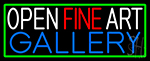 Open Fine Art Gallery With Green Border LED Neon Sign