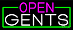 Open Gents With Green Border LED Neon Sign