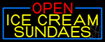 Open Ice Cream Sundaes With Blue Border LED Neon Sign