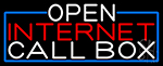 Open Internet Callbox With Blue Border Neon Sign