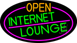 Open Internet Lounge Oval With Pink Border Neon Sign