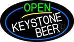 Open Keystone Beer Oval With Blue Border LED Neon Sign