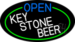 Open Key Stone Beer Oval With Green Border LED Neon Sign