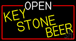 Open Key Stone Beer With Red Border LED Neon Sign