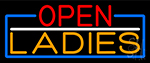 Open Ladies With Blue Border LED Neon Sign