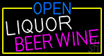 Open Liquor Beer Wine With Yellow Border LED Neon Sign