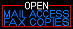 Open Mail Access Fax Copies With Red Border Neon Sign