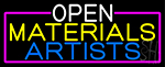 Open Materials Artists With Pink Border LED Neon Sign
