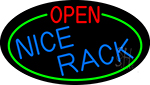 Open Nice Rack Oval With Green Border Neon Sign