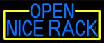 Open Nice Rack With Yellow Border Neon Sign