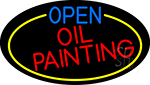 Open Oil Painting Oval With Yellow Border LED Neon Sign