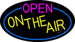 Open On The Air Oval With Blue Border LED Neon Sign
