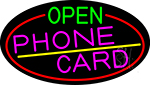 Open Phone Card Oval With Red Border LED Neon Sign