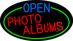 Open Photo Albums Oval With Green Border LED Neon Sign