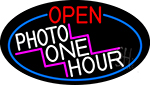 Open Photo One Hour Oval With Red Border LED Neon Sign