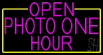 Open Photo One Hour With Yellow Border LED Neon Sign