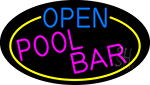 Open Pool Bar Oval With Yellow Border Neon Sign