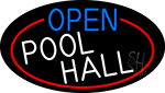 Open Pool Hall Oval With Red Border Neon Sign