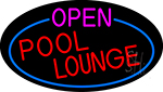 Open Pool Lounge Oval With Blue Border Neon Sign