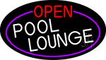 Open Pool Lounge Oval With Purple Border Neon Sign