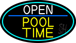 Open Pool Time Oval With Turquoise Border Neon Sign