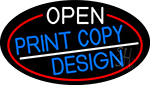 Open Print Copy Design Oval With Red Border LED Neon Sign