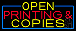 Open Printing And Copies With Blue Border LED Neon Sign