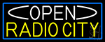 Open Radio City With Blue Border LED Neon Sign